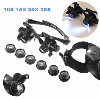 10X 15X 20X 25X Magnifier Magnifying Eye Glass Loupe Jeweler Watch Repair Kit GP