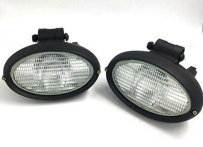 Pair Of Hella Jcb 3Cx Genuine Work Spot Light Oval 12V Working Lamp With Bulb