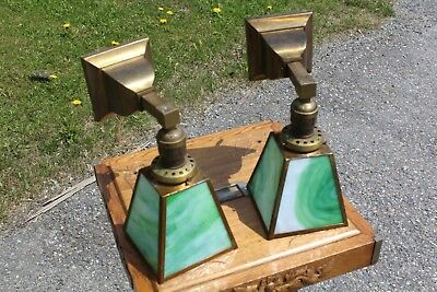 Pair Of Antique Wall Sconce Light Fixture Mission Arts & Crafts Slag Glass Shade