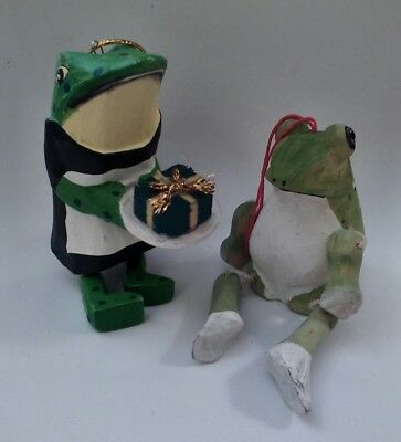 Two Hand Crafted, Jointed Wood Frog Christmas Ornaments, Cute & Colorful