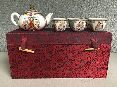 8 Piece Vintage Chinese Miniature Child's Tea Set in Red Silk Box