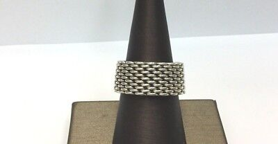 Tiffany And Company Sterling Silver Somerset Mesh Ring Size 7 1/2