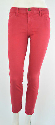 Current Elliott Womens Jeans Size 29 x 27 Red Stretch Denim Skinny Cropped Ankle