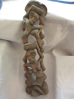 "Vintage 19"" Beautiful Man & Nude Woman Wood Carving, Sculpture, Hanging Art Deco"