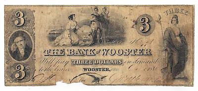 1846 The Bank of Wooster, Ohio - Three Dollar Obsolete Note No.3996