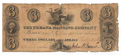 1839 The Urbana Banking Company, Urbana, Ohio Three Dollar Obsolete Note No.1721