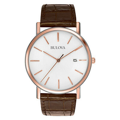 Bulova Classic Men's 98H51 Quartz Rose Gold Case Brown Leather Strap 37mm Watch
