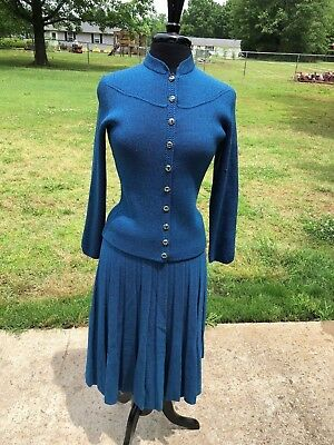 Vintage 80s St. John for Lillie Rubin Blue Santana Knit Suit Jacket Skirt *Flaw