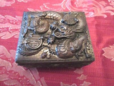 Antique Japanese Bronze or Copper Box With Wood Inside and Hinged Top