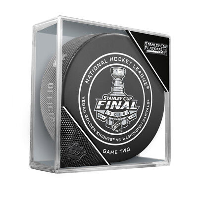 2018 Stanley Cup Final Game Two 2 Puck Golden Knights Capitals In Cubed Display