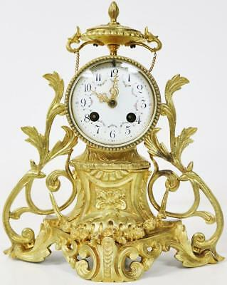 Antique Rococo French 8 Day Bell Striking Pierced Bronze Ormolu Mantel Clock