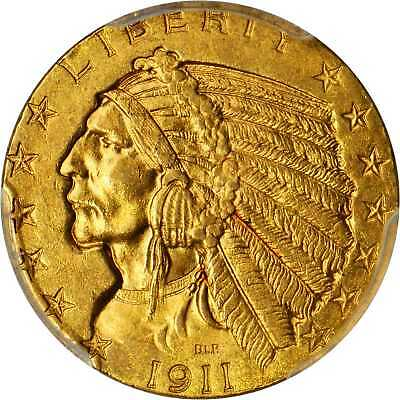 1911 $5 Gold Indian Head Half Eagle PCGS MS 63+ CAC Outstanding Eye Appeal