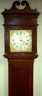 """Antique Solid Oak Longcase Grandfather Clock With 11"""" Square Brass Dial C1780"""