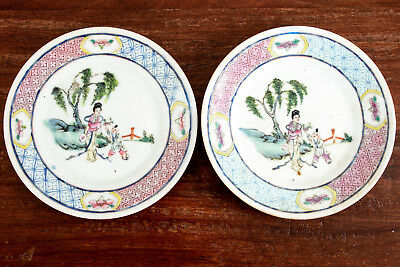 Fine Pair Chinese Qing Dynasty Porcelain Famille Rose Mandarin Plates