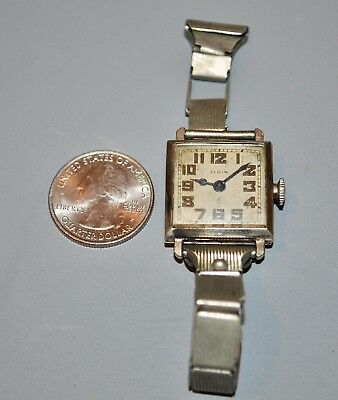 Vintage 1925 Elgin 7J Art Deco 14K White Gold Filled Watch Fahy's Sturdybilt