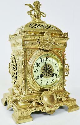 8 Day French Antique Bronze Ormolu Gong Striking Cubed Mantel Clock By S. Marti