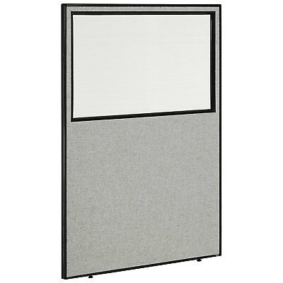 """48-1/4""""W x 72""""H Office Partition Panel with Partial Window, Gray, Lot of 1"""