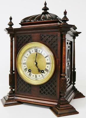 Awesome Antique 8day Mahogany Carved Striking Cathedral Cubed Mantel Clock C1900