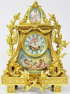 Spectacular 8 Day Antique French Ormolu Bronze & Sevres Striking Mantel Clock