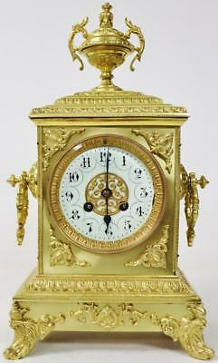 Antique French Cubed Bronze 8 day Mantel Clock - C1860 Bell Striking Japy Freres
