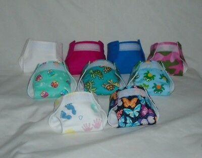"""Homemade Baby Doll Cloth Diaper Flannel Design Waists Adjustable from 8"""" to 11"""""""