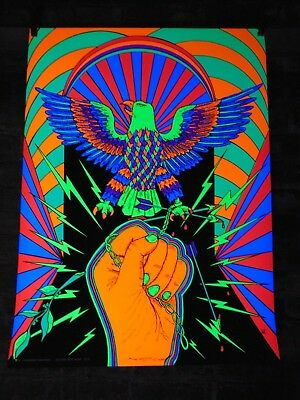 Original~Vagabond Creations~Eagle w/Chain ~ Black Light Poster Signed WC #108