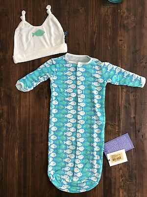 KicKee Pants Layette Sack & Double Knot Hat Set Confetti Piranha 3-6 Months NWT
