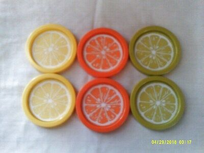 6 Retro Mid-Century Modern Citrus Fruit Slice Coasters Usa