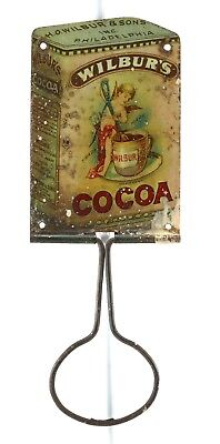 Rare Wilbur's Cocoa Advertising Broom Holiday tin lithographed 1900s