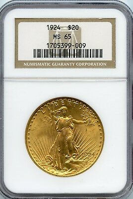 1924 $20 Gold St. Gaudens Double Eagle NGC MS 65