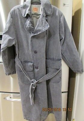 The Australian Outback Collection Long Denim Trench Coat Faded Black