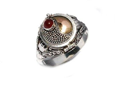 Sterling Silver Poison Ring with Carnelian and 18k gold accents