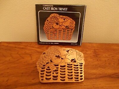"""Fruit Basket Trivet Cast Iron Coppertone Wall Hang, Footed  8 x 6 1/2""""  1980's"""