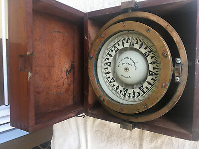 """VINTAGE 1940's , SHIPS COMPASS ,7"""" IN WOODEN BOX, U.S.A."""