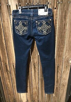 Miss Me Signature Skinny Buckle Jeans Size 25 x 33 Long