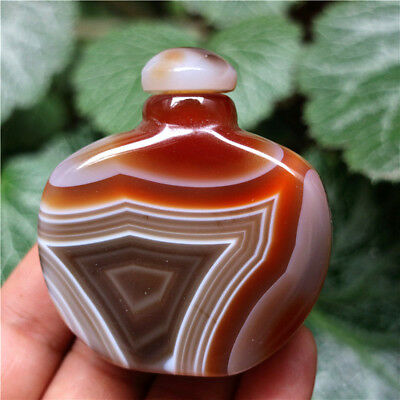 Natural Banded Agate Snuff Bottle - Chinese Exquisite Hand-carved