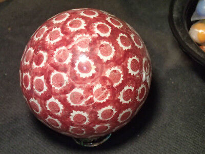 Red Victorian Glazed Pottery Dot and Star Carpet Ball - Marbles
