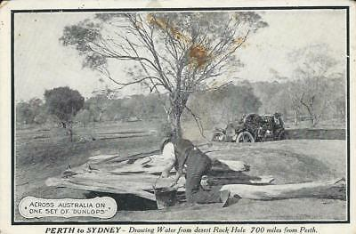 "Dunlop Advertising  P/card ""Perth to Sydney- Drawing Water"" in West Australia"