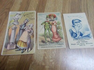 3 TRADE CARD Corset Stove Vinegar Dana & Streater ILL. VG to VG+ Victorian OLD