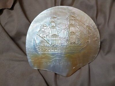 Antique Carved Mother Of Pearl Shell Sailing Ship Mop