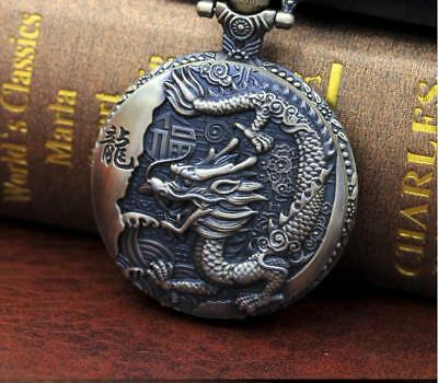 Qing dynasty twelve chinese zodiac dragon carving bronze antique pocket watch14_