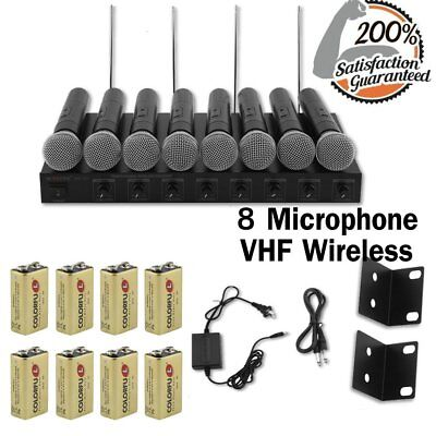 NEW Professional Handheld VHF 8 Channel Wireless Microphone System W/ 8 Mics@