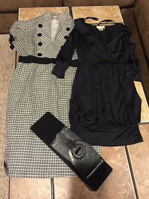 Dress lot, Baby Phat XS Black, Be Bop S black white checkered plaid, Belt, Club,