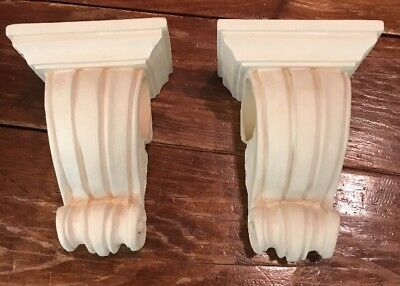2 Drapery Wall Sconce Decorative Corbel Resin Curtain Swag Holder PAIR
