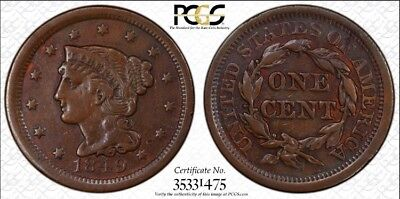 1849 PCGS VF Details - Cleaned Toned Braided Hair Large Cent