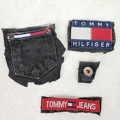 vintage 90s tommy hilfiger 3 x 2 sew on flag logo patch button