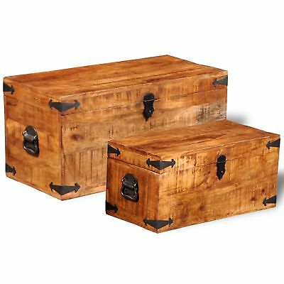 2Pc Set 70cm 58cm Recycled Solid Wood Treasure Trunk Storage Box Cabinet Chest