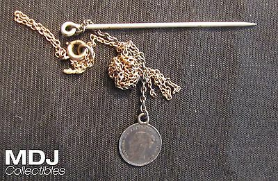 1851 Great Britain Maundy Penny as part of Stick Pin
