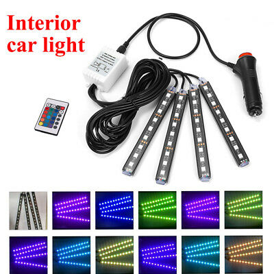 4PC Car Interior Atmosphere Neon Lights Strip 12 LED Wireless IR Remote Control