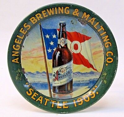 1909 ANGELES BEER Brewing Seattle Washington AYPE Expo tin litho tip tray